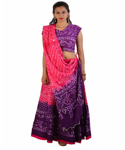 Pink/Purple Bandhej Chania Choli