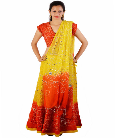 Yellow/Orange Bandhej Chania Choli