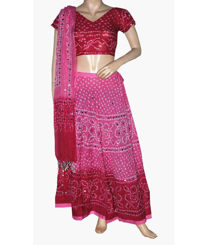 Pink Shaded Bandhej Chania Choli