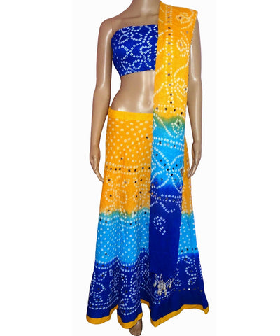 Yellow/Blue Bandhej Chania Choli