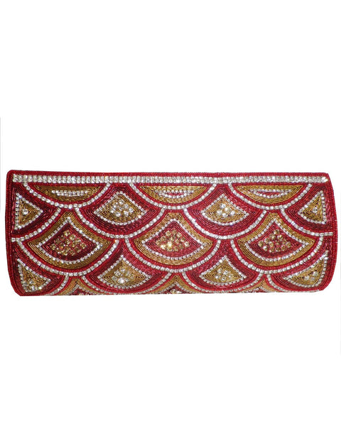 Designer Red/Golden Color Clutch Purse