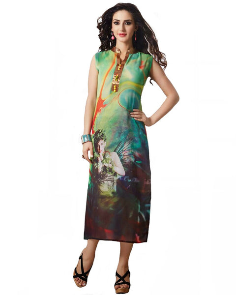 Trendy Look Green Color Digital Print Kurti