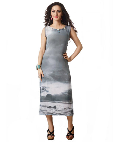 Trendy Look Grey Color Digital Print Kurti
