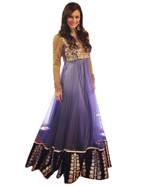 Bollywood Celebrity in Grey Color Long Dress
