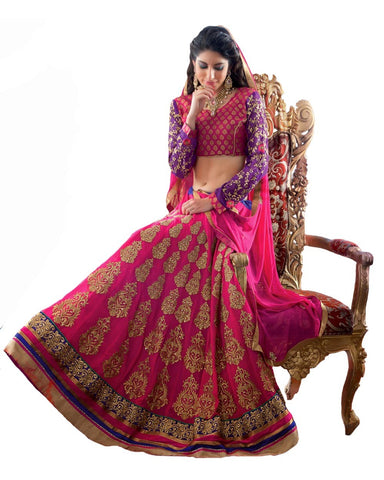 Deep Pink Color Net Lehenga
