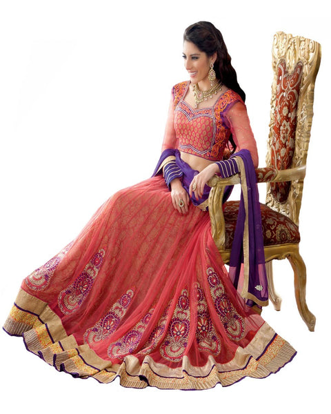 Carrot Color Net Lehenga