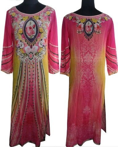 Yellow/Pink Color Digital Print Kurti Cum Salwar Suit