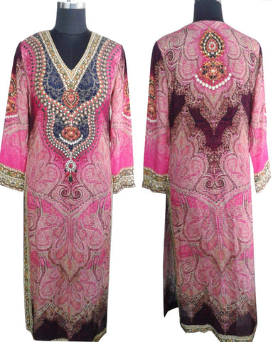 Rosy Pink Color Digital Print Kurti Cum Salwar Suit