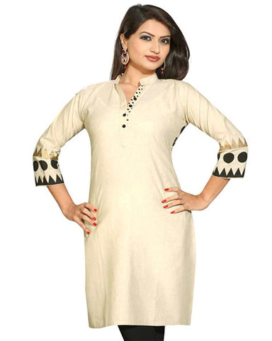 Trendy Look Cream Color Kurti