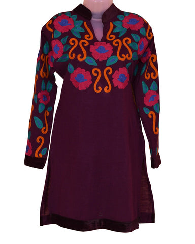 Woolen Plum Color With Floral Embroidery Kurti