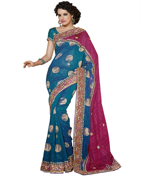 Heavy Blue/Pink Saree