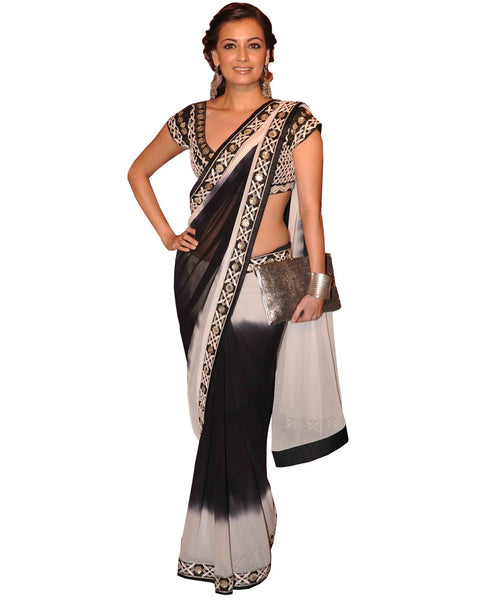 Designer Black/Off White Saree