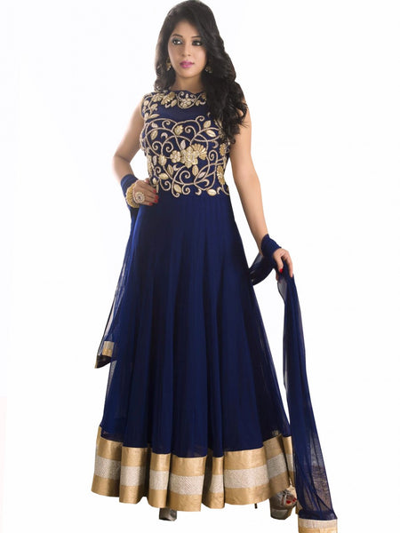Designer Navy Blue Anarkali Suit
