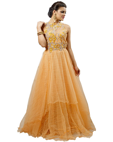 Exclusive Bright Orange Party Wear Gown