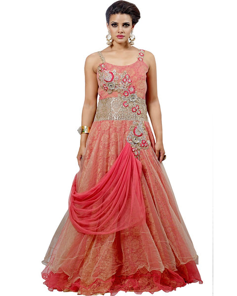 Exclusive Peach Party Wear Gown