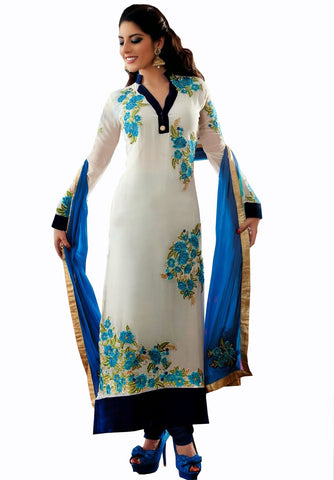 Off White Churidar Salwar Kameez
