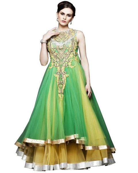 Designer Yellow/Green Party Dress