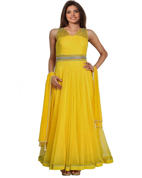 Designer Yellow Party Dress