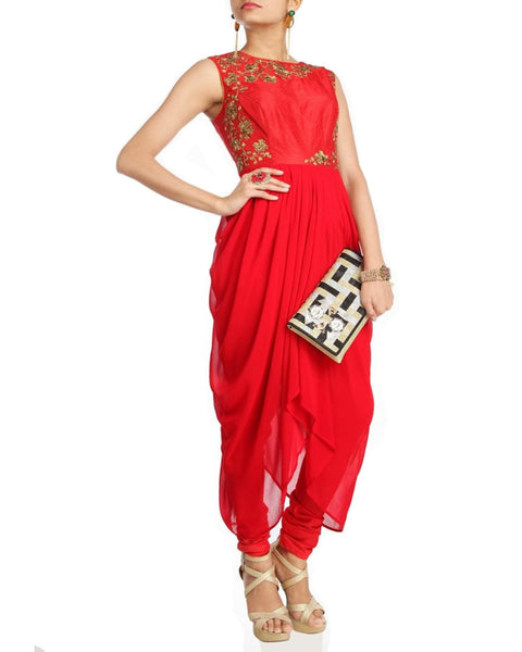 Designer Red Party High Low Dress