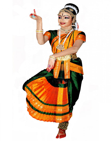 Bharatnatyam Green Yellow Dance Costume