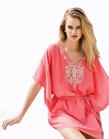 Peach Color Beachwear Kaftan