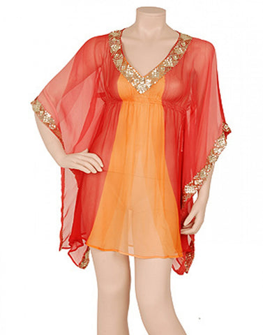 Orange Color Beachwear Kaftan