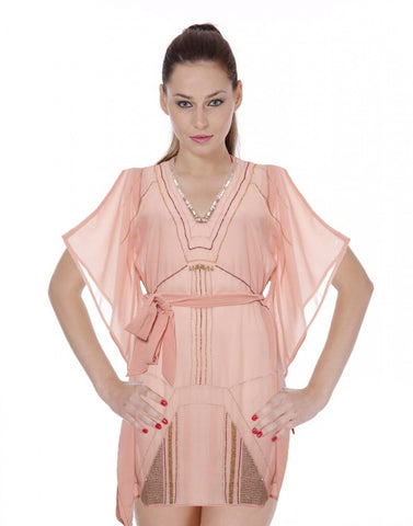 Peach Color Beach Wear Kaftan