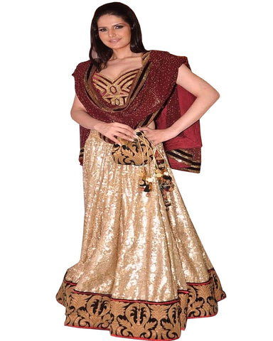 Zareen Khan Golden Red Lehenga