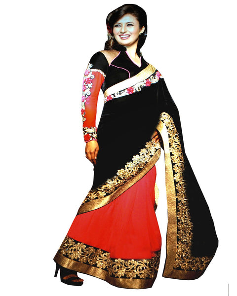 Black Red Georgette Half/Half Saree