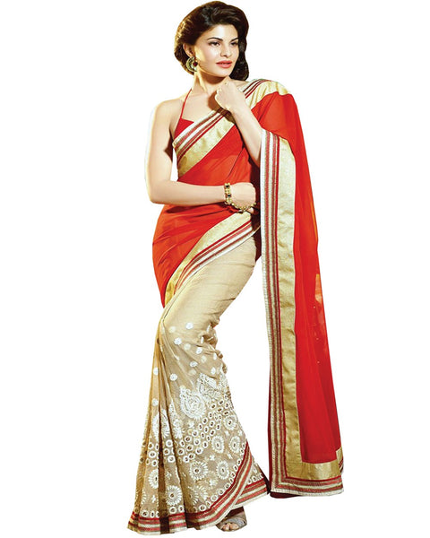 Jacqueline Fernandez orange Half-Half Saree