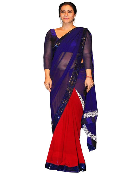 Kajol Blue Red Saree