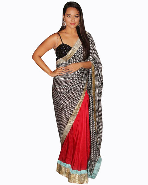 Sonaxshi Red Black Saree