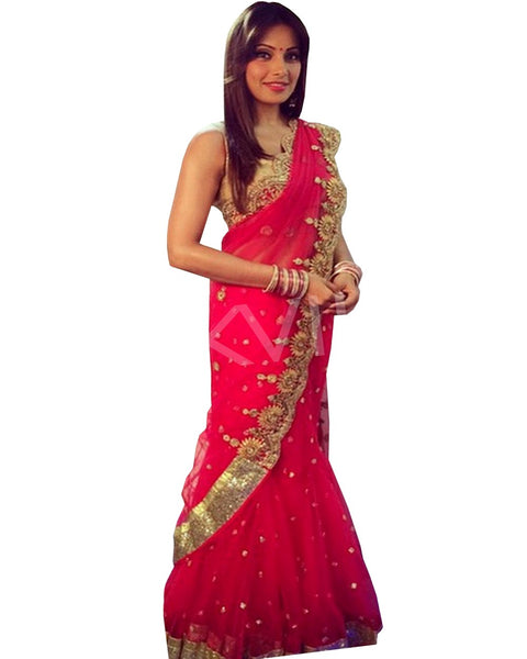 Bipasha Red Rose Saree