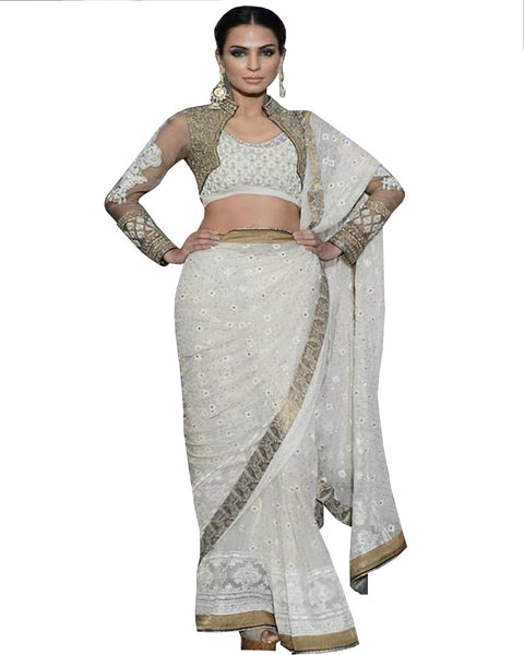 Designer White Saree
