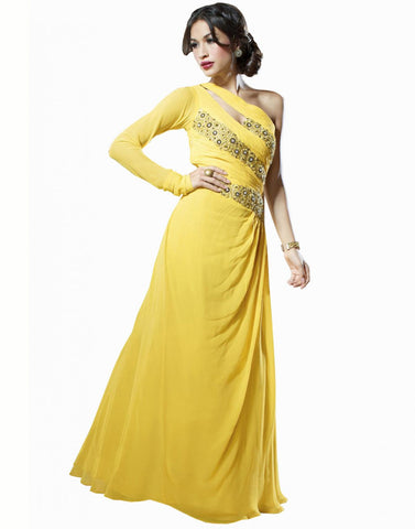 Yellow Color Net Fabric Designer Gown