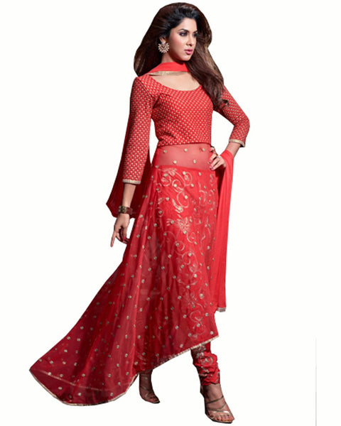 Designer Red Net Salwar Suit