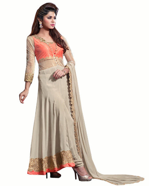 Designer Orange Crap Designer Salwar Suit