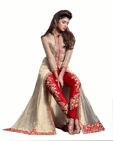 Red Color Net Fabric Designer Gown