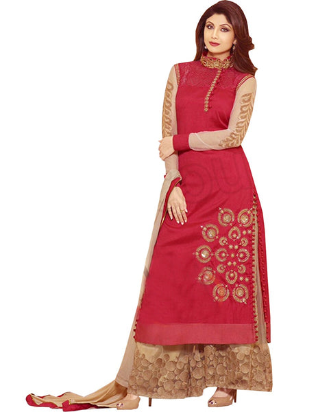 Shilpa Shetty Red Georgette Palazzo Churidar Suits