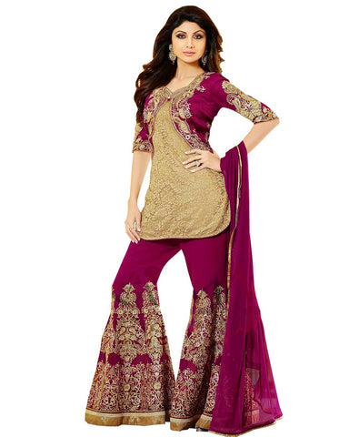 Shilpa Shetty Brown Net Pant Style Churidar Suit
