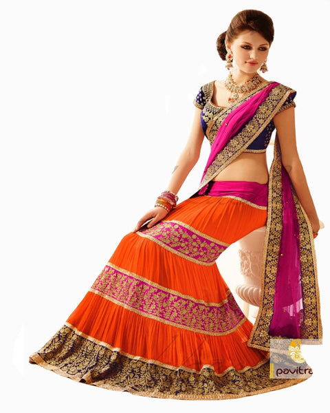 Bollywood Orange Lehenga Saree