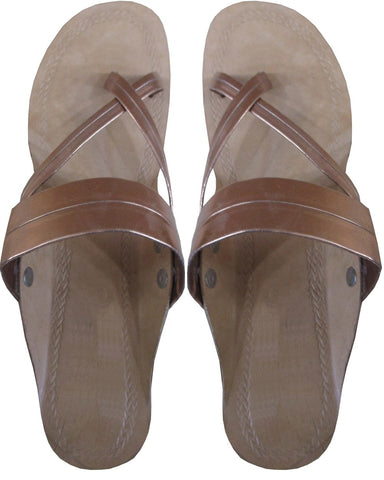 Flat Brown Strip Chappal