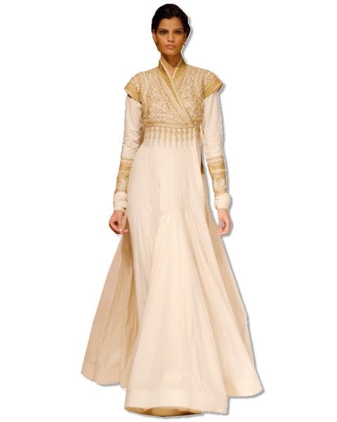 EMBROIDERED OFF WHITE FLOOR LENGTH DRESS