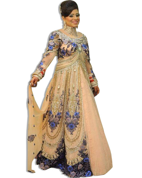 GOLD AND BLUE EMBROIDERED LAHENGA SUIT