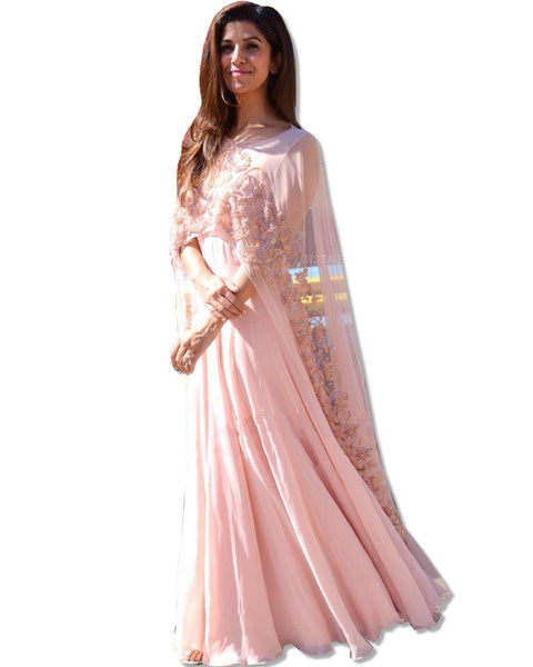 GEORGETTE EMBROIDERED BLUSH FLOOR LENGTH DRESS