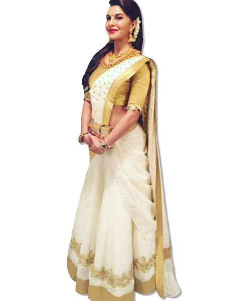 JACQUELINE PURE GOLD WHITE SAREE