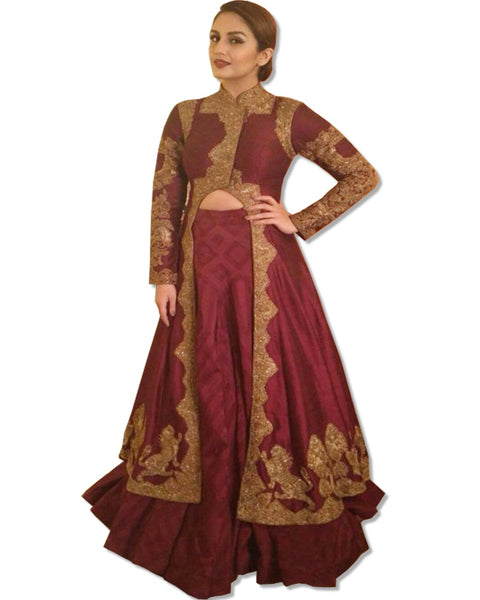 DEEP RUST EMBROIDERED LAHENGA STYLE