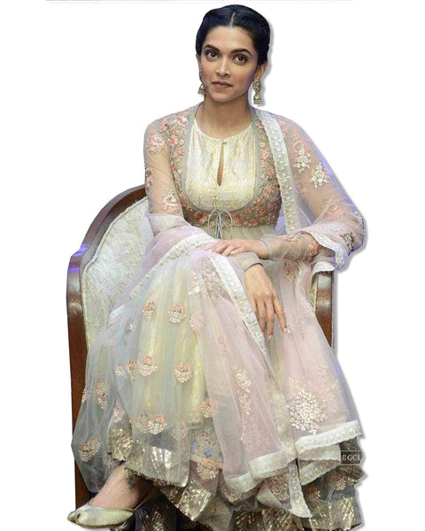 DEEPIKA PADUKONE OFF WHITE GOLD ANARKALI