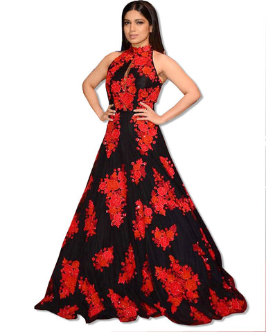 BHUMI RED CARPET FLORAL DRESS