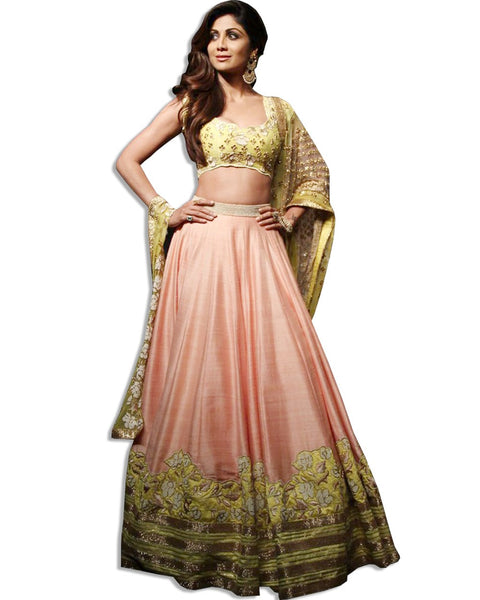 SHILPA SHETTY PEACH EMBROIDERED LAHENGA